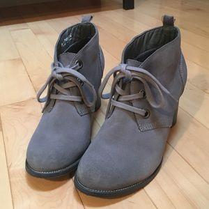 Grey Suede Booties Hush Puppies Waterproof Leather